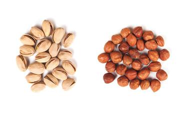 hazelnut and pistachios isolated