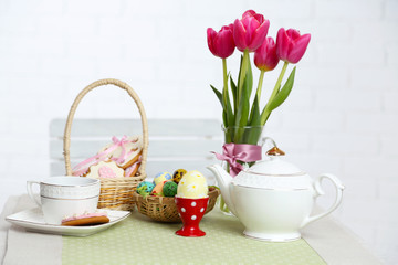 Easter table setting, on light background