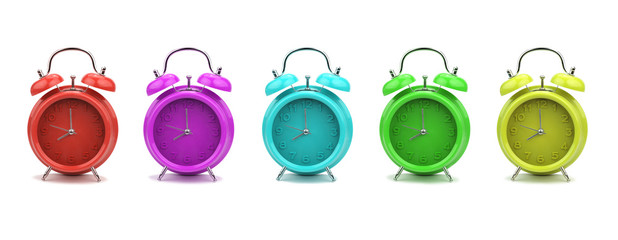 Colorful alarm clocks, isolated on white background