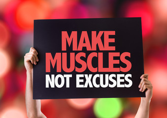 Make Muscles Not Excuses card with bokeh background