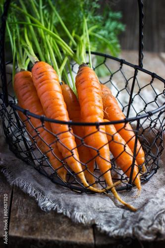 Poster fresh organic carrots