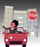Enraged female driver on a city road poster