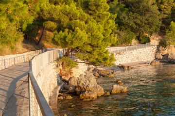 Promenade. Coast of Croatia. Rocks, sea and pine trees.
