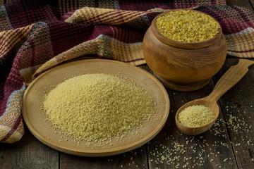 Popular ingredients oriental cuisine bulgur and couscous