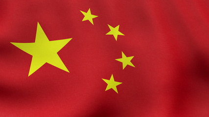4K UltraHD Loopable waving Chinese flag animation