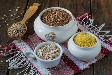 Buckwheat, oatmeal, barley, corn