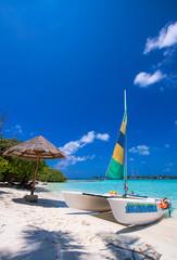 Catamaran over a wonderful tropical beach