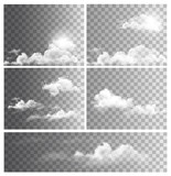 Fototapety Set of backgrounds with transparent different clouds. Vector.