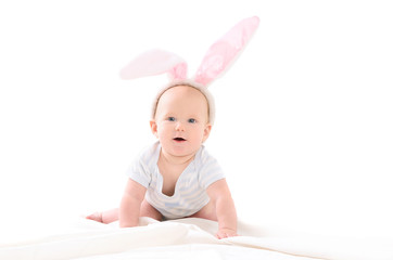 child dressed up as Easter bunny