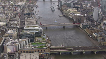 Aerial view above the city of London and the river thames