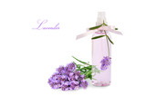 Fototapety Lavender product in spray bottle and flowers isolated