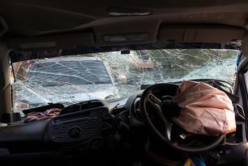 Windshield, steering wheel accident