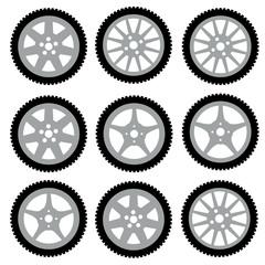 automotive wheel with alloy wheels. Vector illustration.