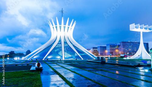 Leinwanddruck Bild Cathedral of Brasilia at night, Brazil