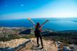Leinwandbild Motiv Woman traveling on the island top