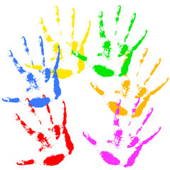 Hand print  rainbow colors, skin texture pattern, vector illustr