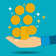 Gold coins fall into the hand. Passive income.