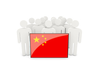 People with flag of china