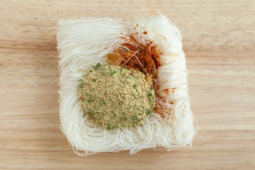 vermicelli noodles on wooden