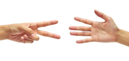 hands making scissors VS hands making paper