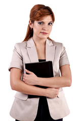 Confident Businesswoman On A White Background - Stock Image