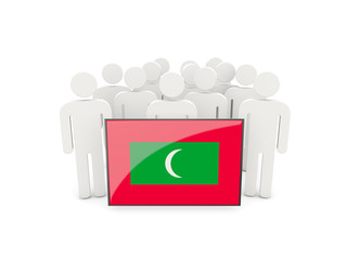 People with flag of maldives