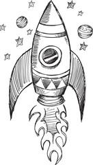 Doodle Sketch Rocket Vector Illustration Art