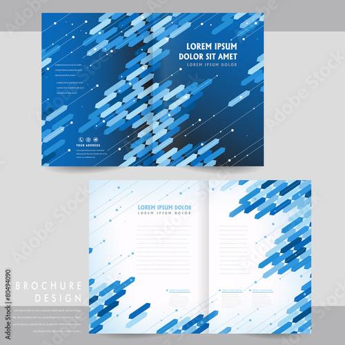 High tech half fold brochure template design for Technical brochure template
