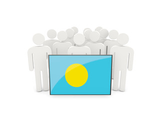 People with flag of palau