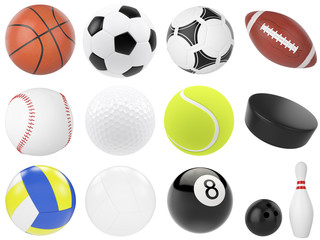 3d illustration set of sports balls