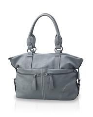 beautiful gray leather handbag
