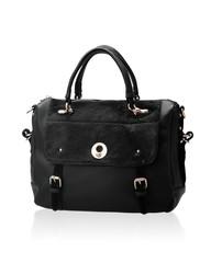 luxury black leather lady handbag