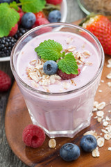 delicious berry smoothies with oatmeal, close-up