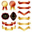 gold and red emblem set