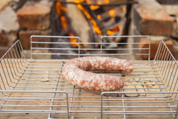 the meat sausage lies on a lattice