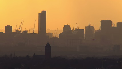 Aerial view of the London skyline on a hazy autumn morning