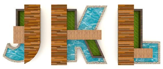 3D English alphabet fonts in architect texture style (J K L set)