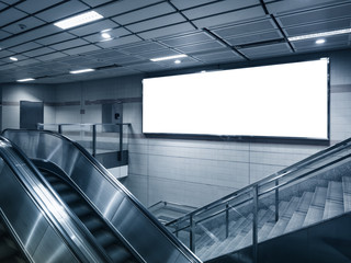 Billboard mocked up in subway station perspective