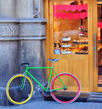 Colorful bike at the bakery