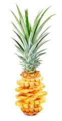 Full sliced ripe pineapple on isolated white background, ripe sl