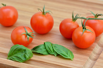 Cherry Tomatoes, Basil - Cutting Board