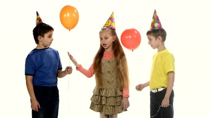 Children come to the birthday party and play Counting. white