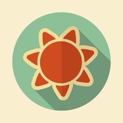 Sun retro flat icon with long shadow