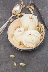 Saffron, cardamom and vanilla ice cream