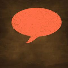 hand drawn orange chalked speech on design background