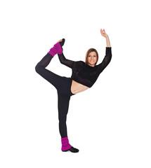 girl shows a yoga movement