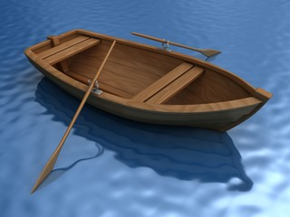 Wooden boat with oars