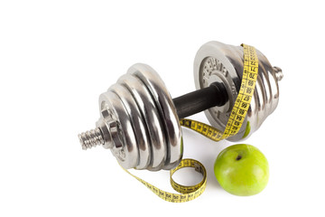 barbell with meter and apple isolated on white