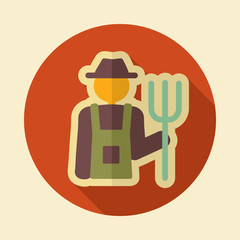Farmers retro flat icon with long shadow