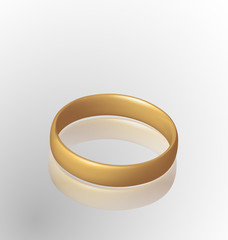 Jewelry golden ring with reflection